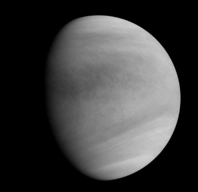 探査機「あかつき」が軌道投入後に撮影した金星=7日(JAXA提供)