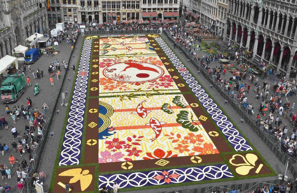 ベルギー・ブリュッセルの広場グランプラスに完成した「日本」をテーマとした花のじゅうたん =12日(代表撮影・共同)
