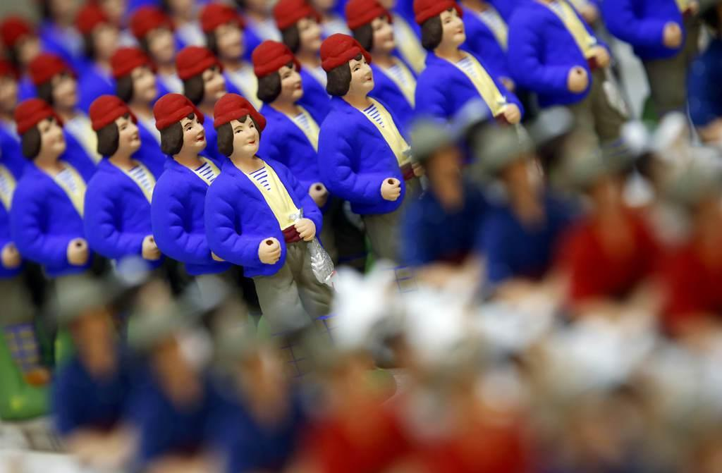 Santons, the typical figurines from Provence, are displayed at the Marcel Carbonel's Santon factory in Marseille, November 28, 2016. Santons are traditional hand-colored figurines usually set in Christmas Nativity scenes. REUTERS/Jean-Paul Pelissier