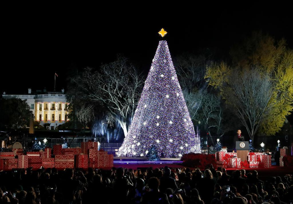 President Barack Obama speaks during the lighting ceremony for the 2016 National Christmas Tree is seen before the lighting ceremony on the Ellipse near the White House, Thursday, Dec. 1, 2016 in Washington. (AP Photo/Alex Brandon)