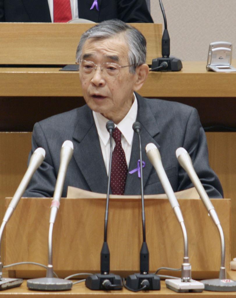 産経フォト島根県の溝口善兵衛知事、正式に引退表明