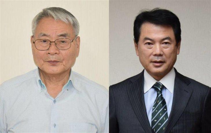 現職の佐藤栄一氏(右)と新人の須藤博氏