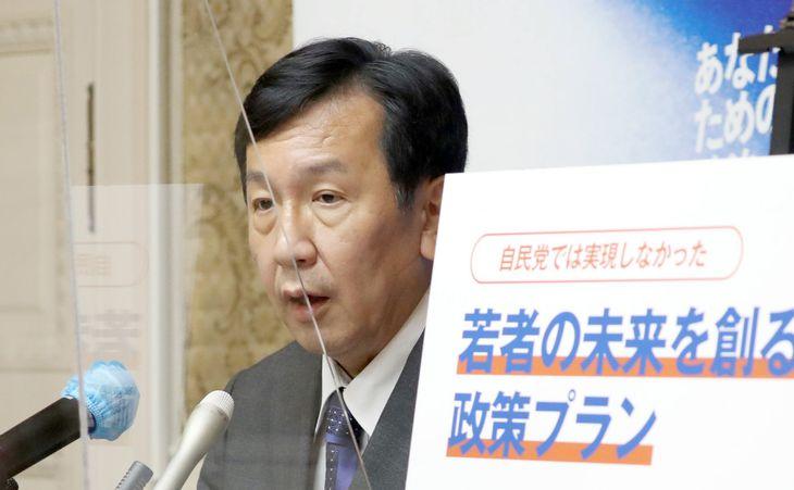 会見する立憲民主党・枝野幸男代表=7日午後、国会内(矢島康弘撮影)