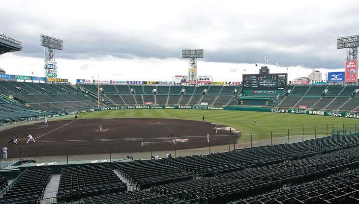 無観客で行われているプロ野球のオープン戦=8日、甲子園球場
