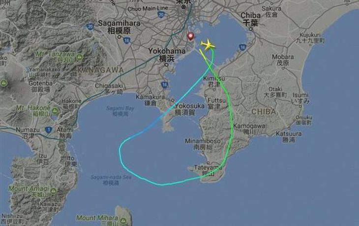 羽田空港に緊急着陸した全日空37便の飛行経路。相模湾上空で方向を大きく変えたことがうかがえる(航空機レーダー追跡サイト「フライトレーダー24」より)