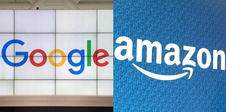 米国のグーグル(左)とアマゾン・コムのロゴマーク(共同)