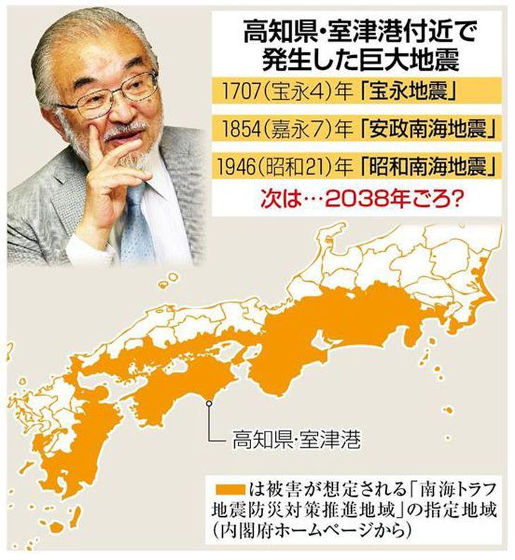 「南海トラフ巨大地震は2038年ごろ」。元京大総長で京都造形芸術大の尾池和夫学長は、過去のサイクルからこう予測しているが…
