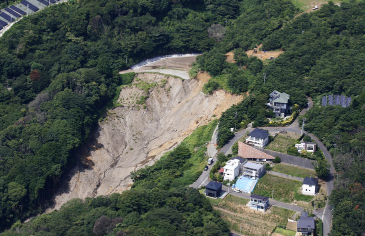 静岡県熱海市で発生した大規模土石流の起点=8月2日