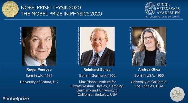 ノーベル物理学賞の受賞が決まった(左から)ロジャー・ペンローズ氏、ラインハルト・ゲンツェル氏、アンドレア・ゲズ氏(ノーベル財団のホームページから)