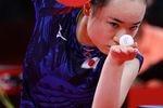 3位決定戦でユ・モンユと対戦する伊藤美誠=29日、東京体育館(桐山弘太撮影)