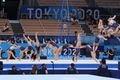 【東京五輪2020 体操】〈女子種目別決勝 床運動〉演技の冒頭、H難度の大技「シリバス」を決める村上茉愛の連続写真=2日、有明体操競技場(川口良介撮影)