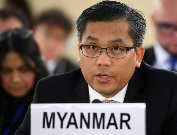 ミャンマーのチョー・モー・トゥン国連大使=2019年3月、スイス・ジュネーブ(ロイター=共同)