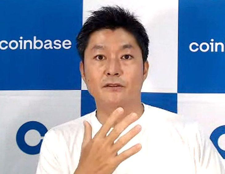 オンラインで記者会見するコインベース・グローバル日本法人の北澤直社長=19日午前