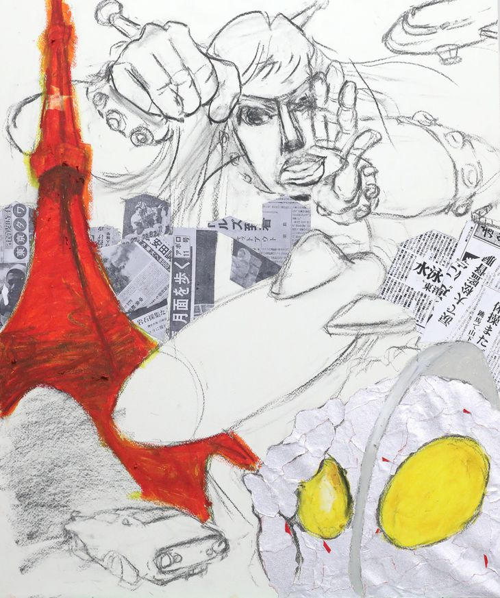ウルトラマンが光ってる。コラージュ大成功! =大阪市北区のサクラアートサロン大阪(鳥越瑞絵撮影)