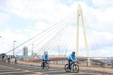 「わかやまサイクルフェスタ」で、カーブした斜張橋「サンブリッジ」を渡るサイクリストたち =2019年3月24日(産経デジタル・澤野健太撮影)