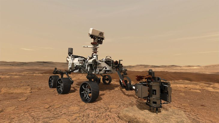 NASAの火星探査車パーシビアランスが試料採取のため岩石を掘削する想像図(NASA提供・共同)