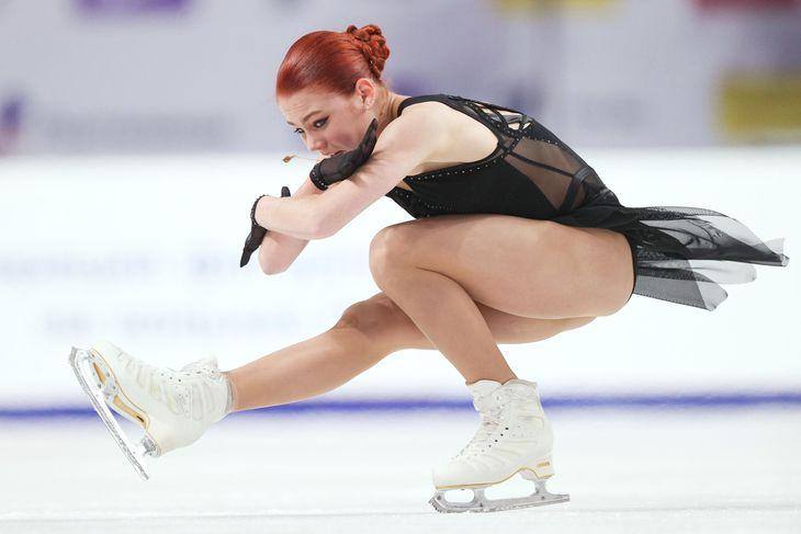 女子フリーの演技をするアレクサンドラ・トルソワ=12日、チェリャビンスク(タス=共同)