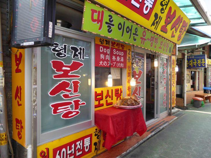韓国の市場内にある犬肉専門店。日本語や英語の表記もある