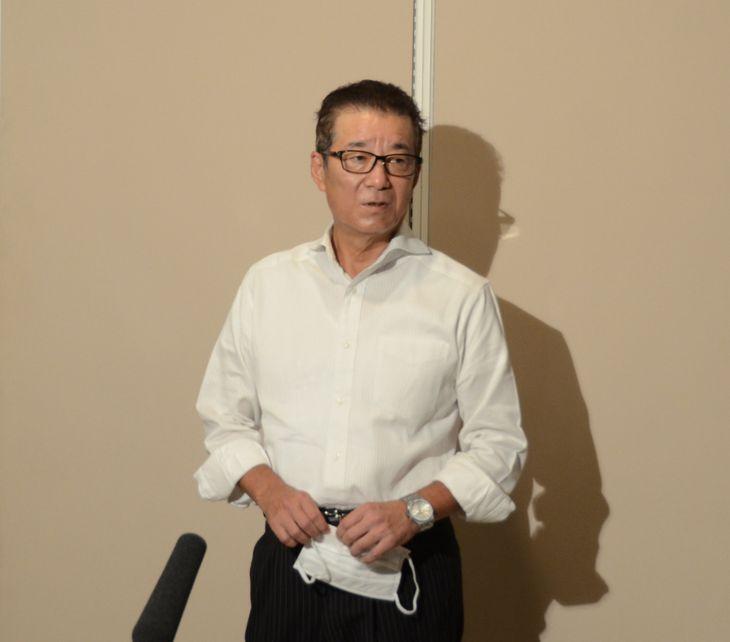 日本維新の会の松井一郎代表=3日、大阪市役所