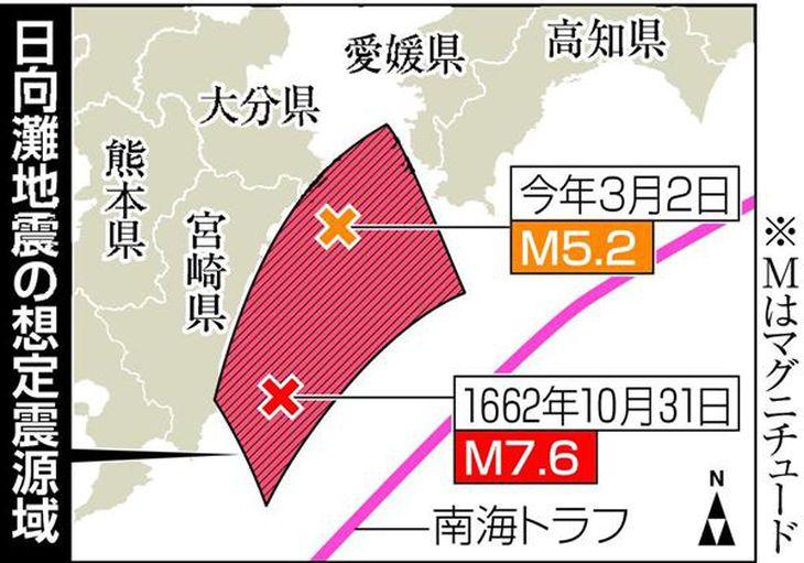 今月続いた日向灘地震、南海トラフ地震の前兆かの声 地震研究者ら
