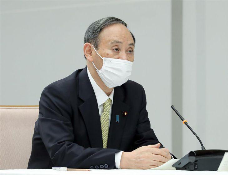 菅義偉首相=19日午後、首相官邸(春名中撮影)