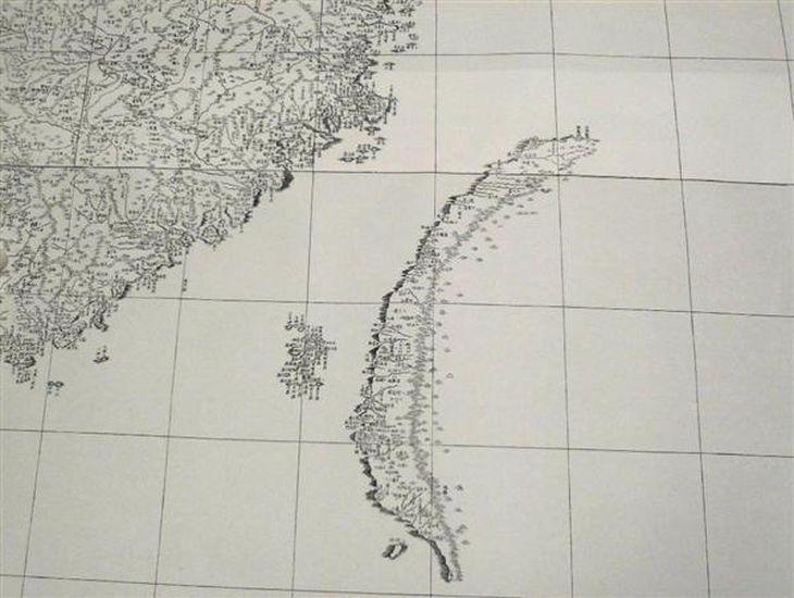 「皇輿全覧図」。台湾の北東にあるはずの尖閣諸島は表記されていない