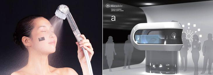油性ペンのインクを落とせる「ミラブル」(左)とサイエンスが2025年大阪・関西万博で披露する予定の「未来の人間洗濯機」のイメージ(いずれもサイエンス提供)