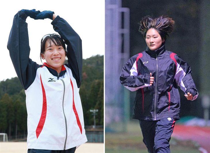 大阪国際女子マラソンで初マラソンに臨む佛教大の上野真理子(左、鳥越瑞絵撮影)と大阪芸術大の長浜夕海香(右、恵守乾撮影)
