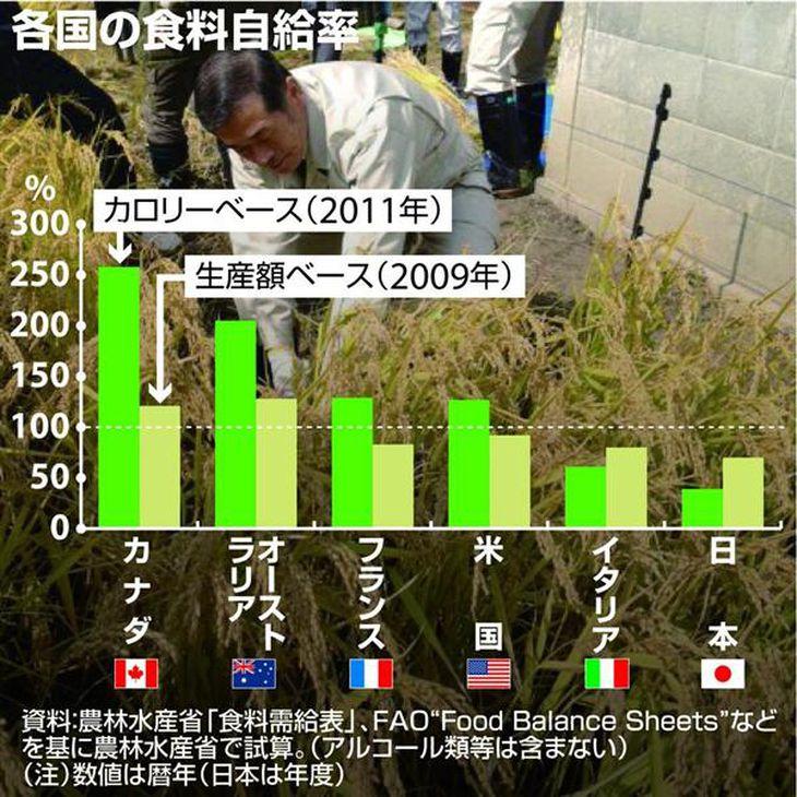 各国の食料自給率