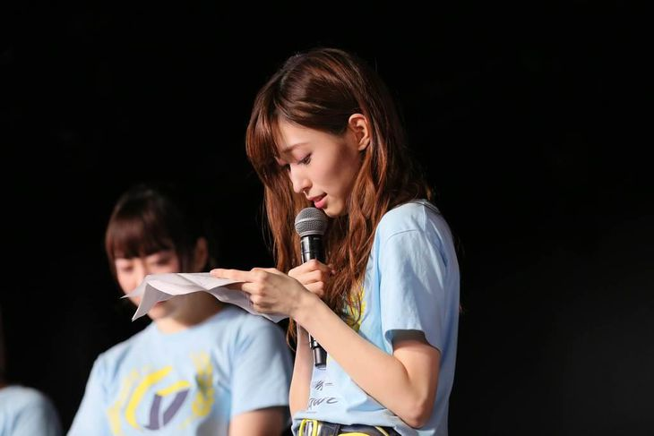 NGT48チームG千秋楽公演で卒業を発表した山口真帆=21日、新潟市中央区