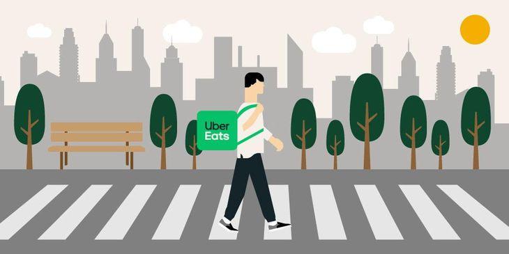 フードデリバリーのUber Eatsが22日から東京23区で、近距離での配達を「徒歩」で行える仕組みの試験運用を始める。画像はニュースリリースから