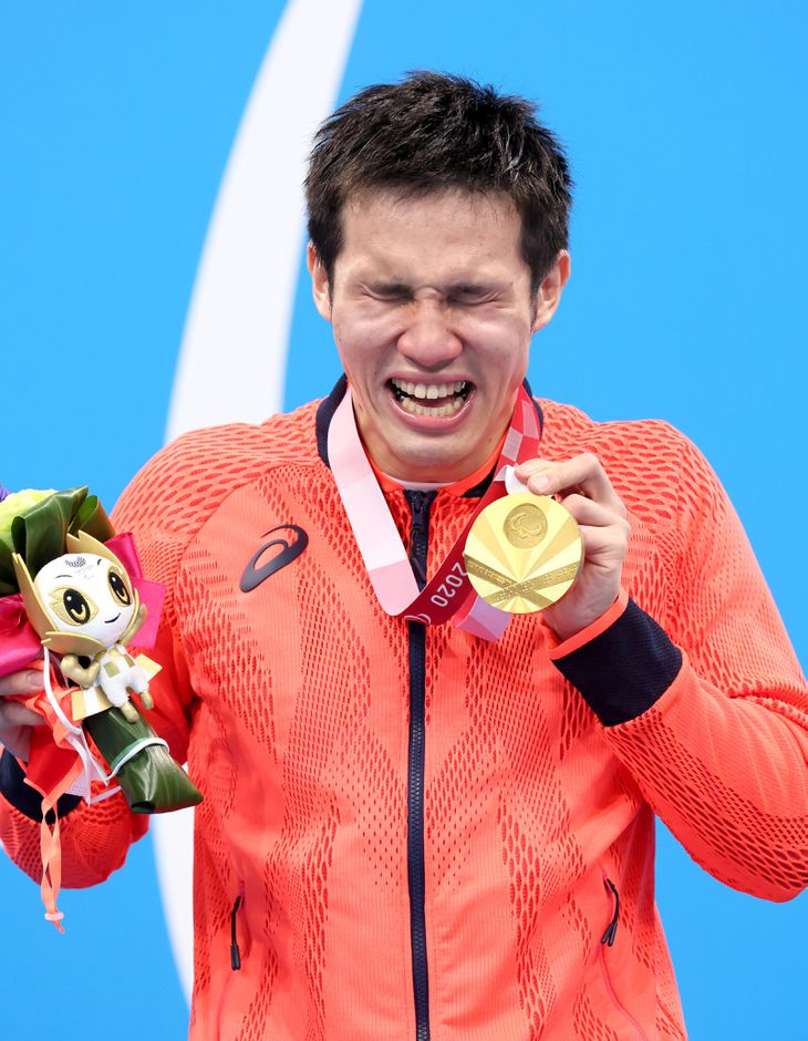 東京パラリンピックで金を含め2つのメダルを獲得した競泳男子の木村敬一=東京アクアティクスセンター(桐原正道撮影)