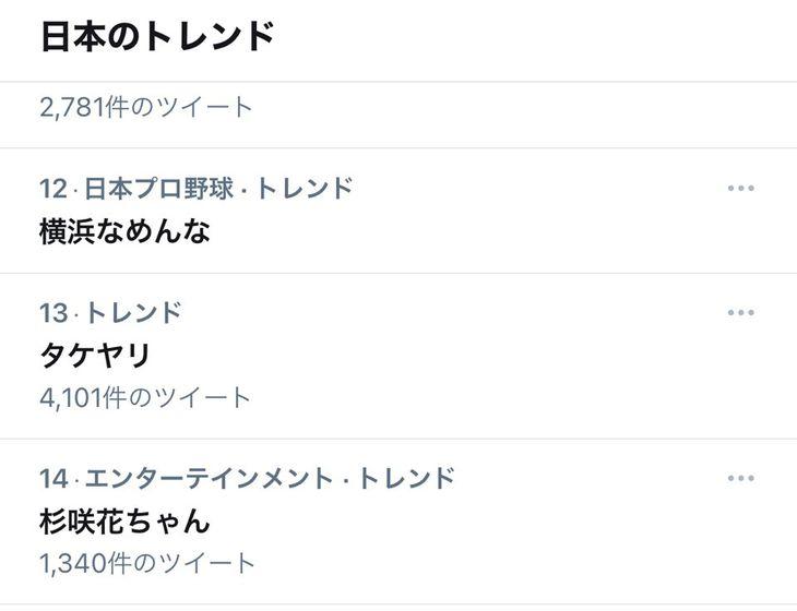 5月11日のトレンドに入った「横浜なめんな」