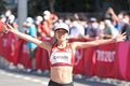 女子マラソンで8位入賞を果たした一山麻緒=7日、札幌市内(鳥越瑞絵撮影)