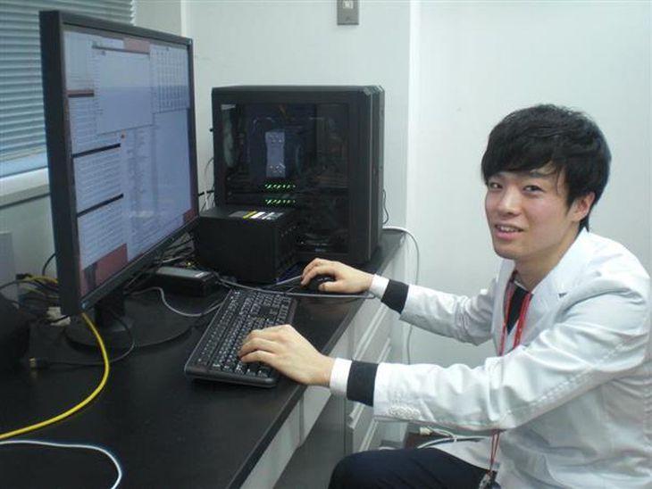 AIを活用した乳がんの画像診断システムの開発に取り組んでいる大阪市大の植田大樹医師=大阪市阿倍野区