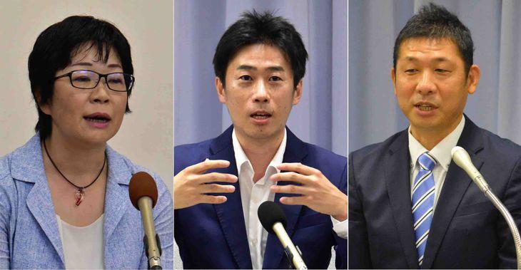 参院静岡選挙区補選に立候補している(右から届け出順に)若林洋平氏、山崎真之輔氏、鈴木千佳氏