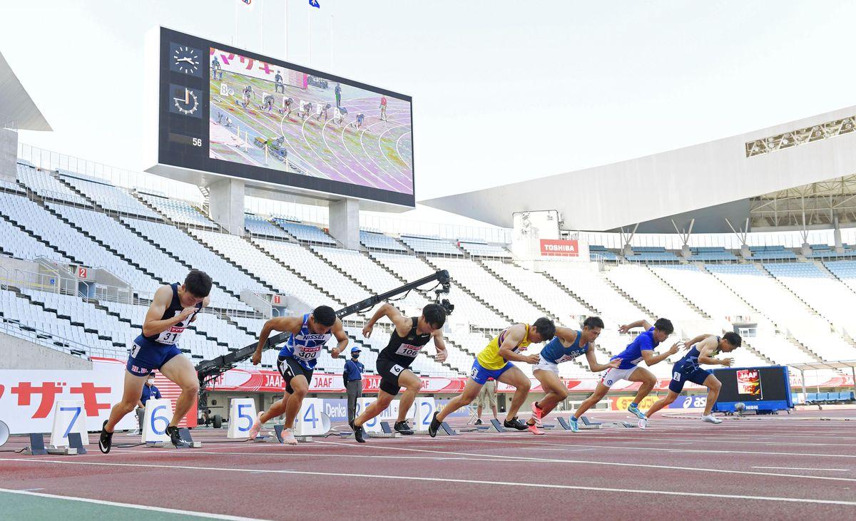 観客数5千を上限に、6月24~27日に開催された陸上日本選手権=24日、大阪市のヤンマースタジアム長居