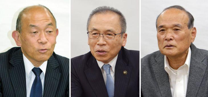 船橋市長選に立候補した、(左から)丸山慎一、松戸徹、門田正則の3氏