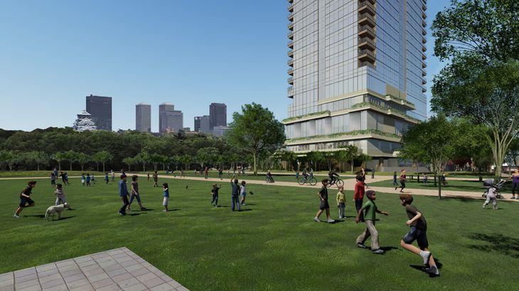 駐車場跡に整備される広場のイメージ(NTT西日本提供)