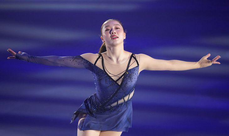 アイスショー「フレンズ・オン・アイス」のリハーサルで演技する樋口新葉=コーセー新横浜スケートセンター