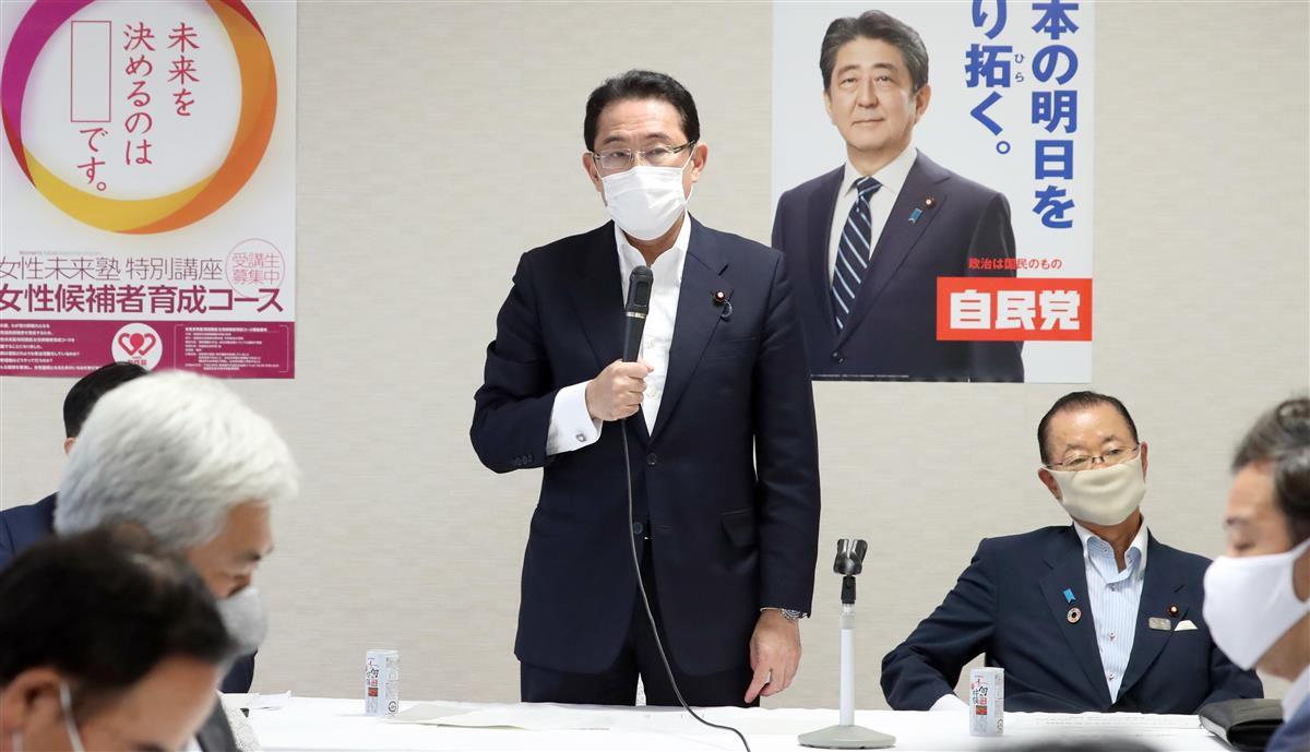 岸田文雄政調会長=30日午後、東京・永田町の自民党本部(春名中撮影)