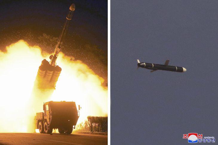 11、12両日に行われた新型長距離巡航ミサイルの発射実験とみられる写真。朝鮮中央通信が13日配信した(朝鮮中央通信=共同)