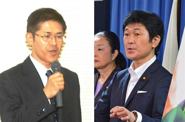 衆院青森4区補選に出馬表明する木村次郎氏(左)と死去した兄の木村太郎元首相補佐官