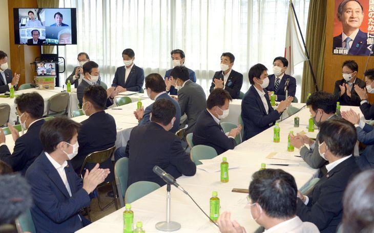 派閥を越えた自民党若手議員の会合=7日午後、東京・永田町の自民党本部(酒巻俊介撮影)