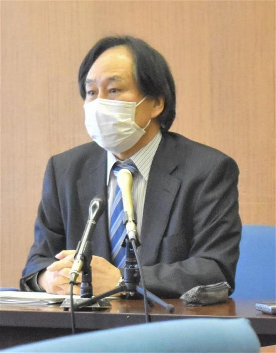 第三者委員会の初会合後、記者団の取材に応じる春日井敏之委員長=12日