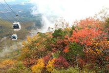 見頃を迎えている安達太良山の紅葉。観光客は例年のピーク時の半分以下という=20日、福島県二本松市(芹沢伸生撮影)