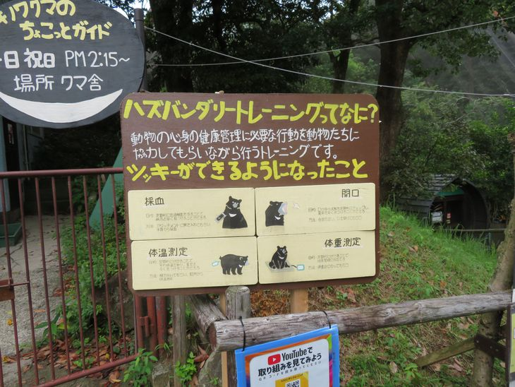 動物園で取り組む「ハズバンダリートレーニング」の案内看板