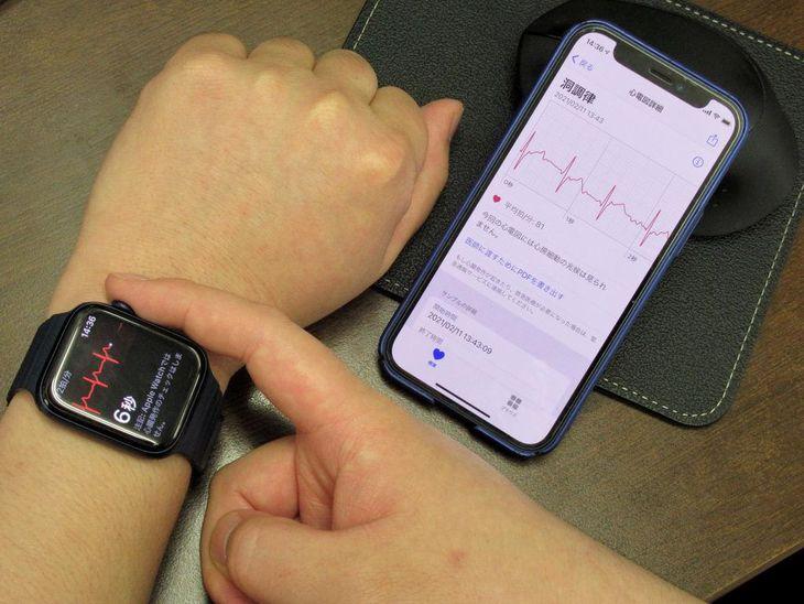 心電図アプリを使った測定の様子